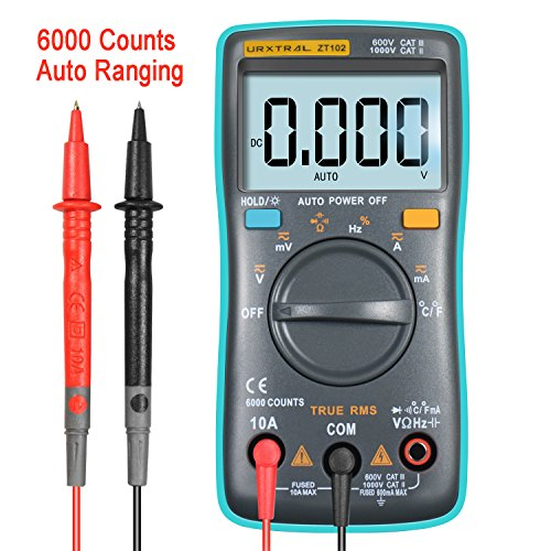 URXTRAL 6000 Counts Auto Ranging Digital Multimeter TRMS Multi Tester Messgeräte Multimeter mit Hintergrundbeleuchtung Messung Temperatur Cat 3 Messgerät AC/DC/Duty Cycle/Continuity Tester