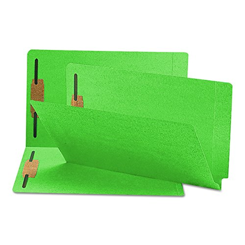 Smead End Tab Fastener File Folder, Shelf-Master Reinforced Straight-Cut Tab, 2 Fasteners, Legal Size, Green, 50 per Box (28140)