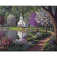 数字によるDIYデジタル絵画パッケージ森林公園油絵壁画キットぬりえ壁アート画像ギフトフレームなし40×50センチ