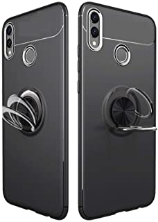 Huawei Honor 8X Finger Ring Kickstand TPU Mobile Case Cover (Built-in Magnetic Metal Sheet) - All Black