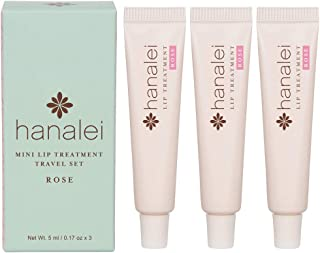 Lip Treatment by Hanalei, Made with Kukui Oil, Shea Butter, Agave, and Grapeseed Oil Soothe Dry Lips, (Cruelty free, Paraben Free) MADE IN USA (Rose Travel-size 3 pack (5g x 3 tubes))