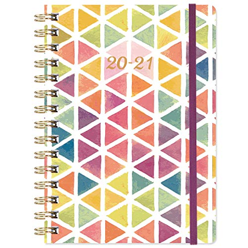 "2020-2021 Planner - Academic Weekly & Monthly Planner with Tabs, 6.3"" x 8.4"", July 2020 - June 2021, Hardcover with Back Pocket + Thick Paper + Banded, Twin-Wire Binding - Watercolor Triangle"