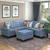 MERITLINE Sectioanl Sofa with Ottoman, Fabric L-Shaped Sectioanl Sofa Living...