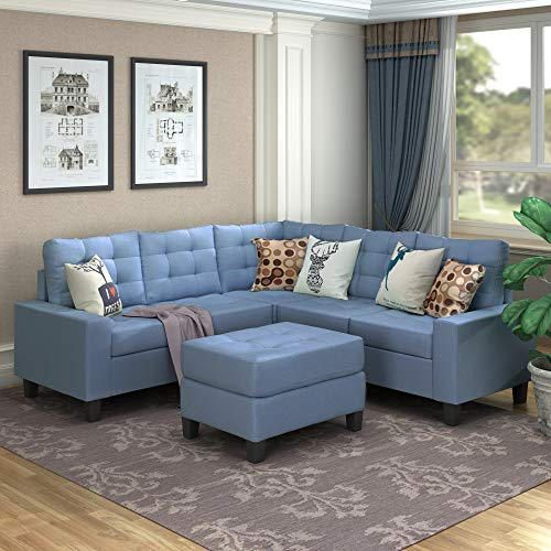 MERITLINE Sectioanl Sofa with Ottoman, Fabric L-Shaped Sectioanl Sofa Living Room Couch Set of 4, Blue