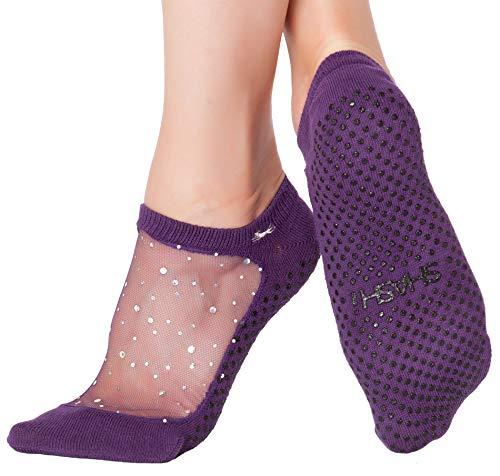 Shashi Purple Glitter Mesh Non Slip Ergonomic Socks Pilates Barre Ballet Yoga Dance ... Sugar Plum Large / 10.5-12.5