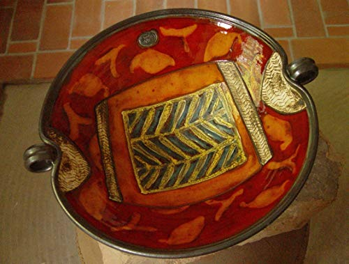 Large Pottery Fruit Bowl with Hand Painted Decoration. Wheel Thrown Ceramic Bowl