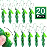 20 Pieces Fidget Bean Toy Funny Facial Expression Bean Fidget Toy Soybean Stress Relieving Keychain, Green