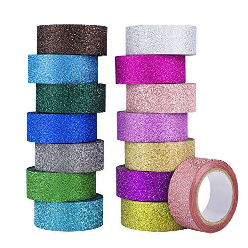 Ruisita 15 Rolls Multicolor Glitter Tape Colored Masking Tape Sparkle Decorative Tape for Festival Decoration Scrapbooking Crafts and for Kids Gift, 0.6 x 197 Inch