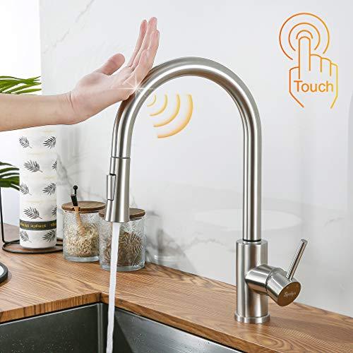 Synlyn Touch Sensor Küchenarmatur mit 60cm Ausziehbar Brause 360° Drehbar Spültischarmatur 304 Edelstahl Induktion Wasserhahn Einhand-Spültischbatterie - 2 Strahlarten