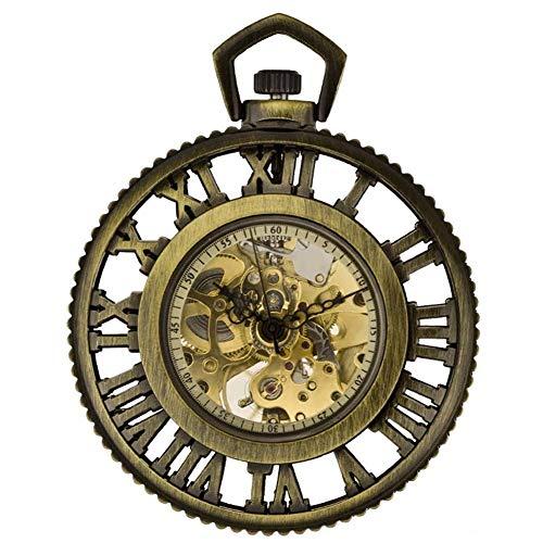 SLRMKK Taschenuhr, Copper Hollow Pocket Watch, die römische Dampfmaschine der Welt Automatische mechanische Uhr Anime Surrounding Pocket Watch Retro Nostalgie Zweites Element.