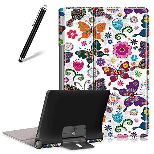 Artfeel Case for Lenovo Yoga Smart Tab/Yoga Tab 5 YT-X705F 10.1,Ultra Slim Lightweight Leather Shell Folding Stand Cover Flip Folio Magnetic Tablet Protective Case,Butterfly
