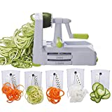 WakLond Vegetable Spiralizer Vegetable Slicer with 5 Blades, Zucchini Spaghetti Maker Zoodle Maker...