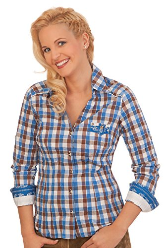 Spieth & Wensky Trachten Bluse Crashoptik, Langer Arm - AUE - blau, Größe 54