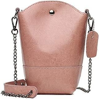 DXFEEL Single Shoulder Bags Leisure Fashion Oil Wax Cowhide Leather Shoulder Bag Messenger Bag (Black)