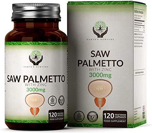 FS Saw Palmetto 3000mg con Zinc de Alta Resistencia | Para la Salud de la Próstata y del Pelo | 120 Cápsulas Veganas | Serenoa Repens para la Salud Hormonal Masculina