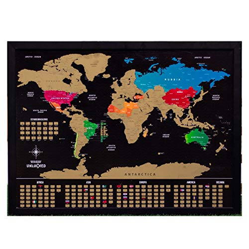 Mapa Mundi de Raspar 88x66 cm Unlocked | Com moldura | Scratch off Brazil Map | Mapa Raspadinha