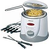 elektrische Fritteuse Fondue für 6 Personen Friteuse Frittieren Oel Kapazität ca. 1 Liter (leistungsstarke 900 Watt + inkl. Fondue-Gabeln)