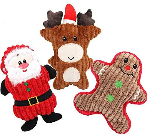 Dorakitten Hundespielzeug Weihnachten, 3 Stück Weihnachtshund Quietschspielzeug Kauspielzeug Plüsch Welpenspielzeug Weihnachten Geschenk - Weihnachtsmann, Schneemann, Rentier