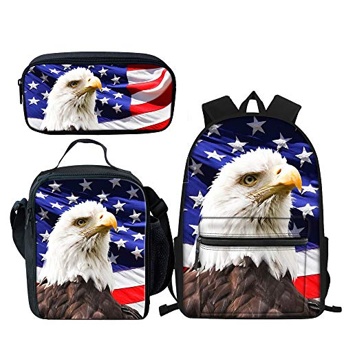 American Flag Eagle Backpack Sets with School Book Bags Lunch Box and Pencil Case, 3 Piece, Best Gift for Kids Boys Girls Back to School