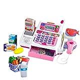 deAO Registratore di Cassa Giocattolo con Scanner, Microfono, Nastro e Lettore di Carta Set di Accessori per Negozi e Supermercati per Bambini Include Alimenti Giocattolo (Rosa)