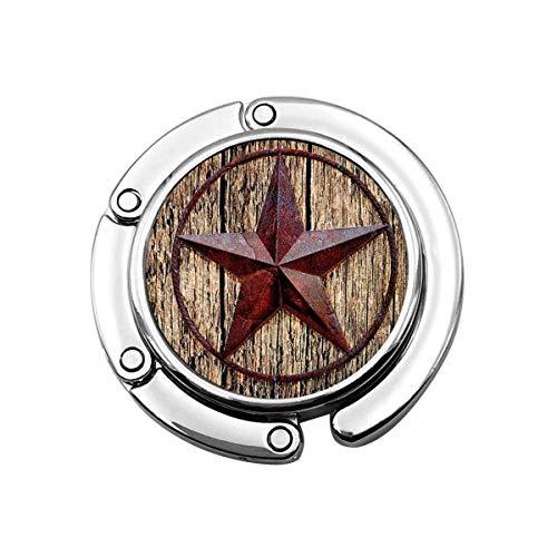 Portemonneehaken Western Style Texas Stars op houten plaat Opvouwbare portemonnee schrijftafelhaak-handtas tafelhanger handtashanger