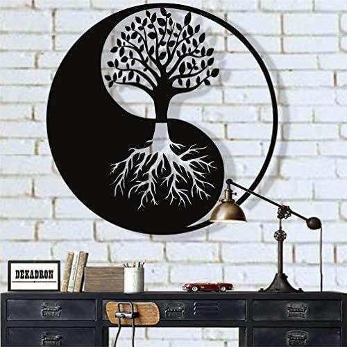 "Amazon.com: Metal Wall Art, Tree of Life Wall Art, Metal Yin Yang Decor, Metal Wall Dcor, Interior Decoration, Wall Hangings (18""W x 18""H / 45x45 cm) : Home & Kitchen"