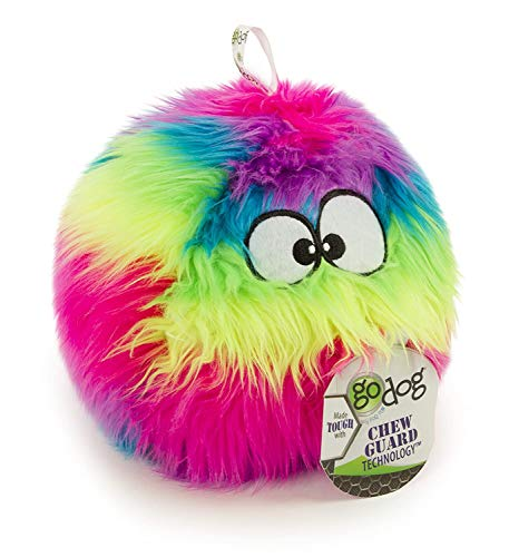 goDog Furballz Rainbow Plush Dog Toy with Chew Guard Technology, Large, Rainbow