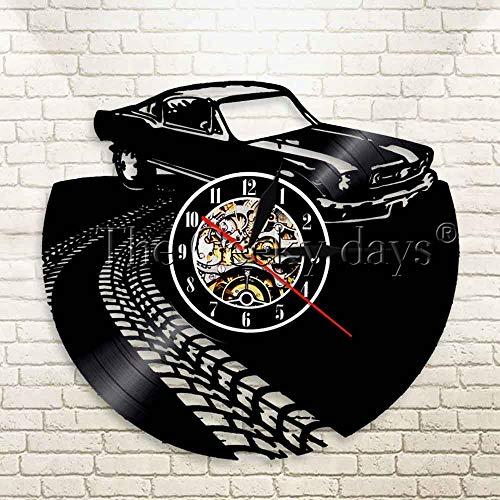 CVG 1Stück Vintage Oldtimer Transport Thema Wanduhr Klassischer Sportwagen Familienauto Schallplattenuhr Auto Wandkunst