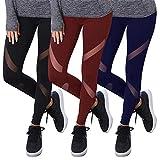 GoVIA Pack de 3 Libella Mujer Ropa Deportiva Leggings Mesh Fitness Mujeres Yoga Pantalones Malla Costura Deporte Gym Medias 4132 Negro Azul Oscuro Rojo Oscuro S/M