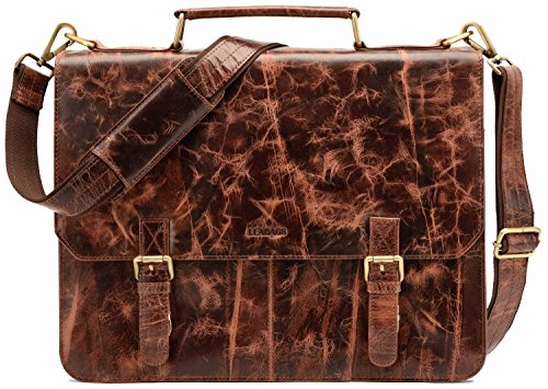 Leabags Gainsville aktetas laptoptas 15 inch lederen tas in vintage look, (l x b x h): ca. 29 x 11 x 30 cm.
