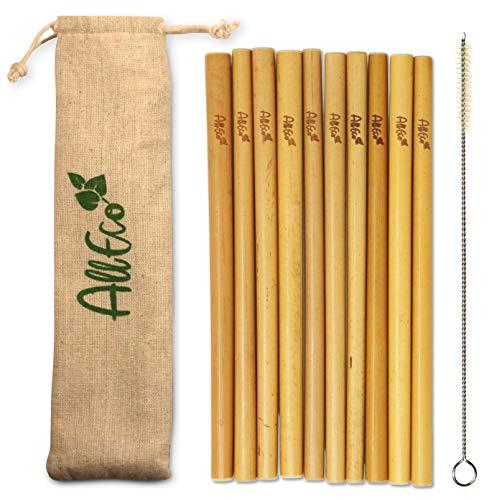 AllEco® Bambus Strohhalm wiederverwendbar 10er Set + Reinigungsbürste + EXTRA Eco-Beutel - umweltfreundlich, ökologisch, nachhaltig & plastikfrei