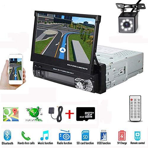 Hikity Single Din Car Stereo with GPS 7 Inch Foldable HD Touch Screen Radio with USB/AUX-in/SD Card Slot Supports Mirror Link for Android Phone + Backup Camera & 8G Map Card