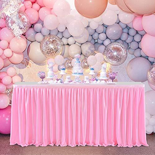 NSSONBEN Falda de mesa de poliéster rosa para fiestas de bebés, baby shower, niñas, bodas, cumpleaños, cumpleaños infantiles, 4,5 yard/14ft/427 cm x 77 cm