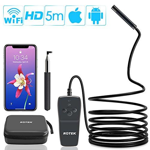 ROTEK WiFi Endoskop, Drahtlose Inspektionskamera,2.0 Megapixel 1080P HD Endoskopkamera,IP68 wasserdichte Sanitär Schlange Kamera mit 8 LED-Leuchten für IOS Android Smartphone,Tablette - 5 Meter