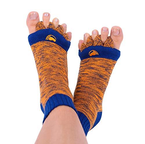 My Happy Feet Chaussettes d'alignement des pieds avec séparateurs d'orteils pour homme ou femme Bleu marine et orange, vert, Medium