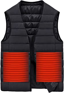 Mens Heated Vest, F_Gotal Heated Vest Polar Fleece Lightweight Heated Waistcoat with Smart USB Electric Warm Winter