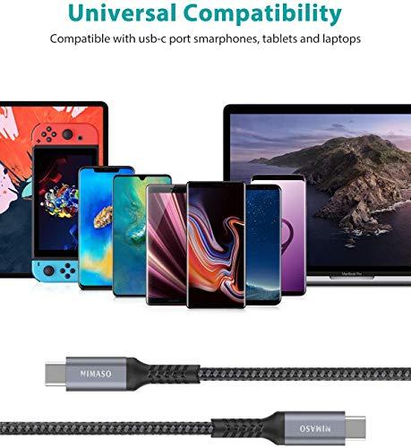 Nimaso USB C auf USB C Kabel [3-Pack/0.3M+1M+2M],USB Typ C PD Ladekabel 60W 20V/3A für Galaxy S21 S21+ S21 Ultra S20 S10 S9,Note 10,Huawei P30 P20,Google Pixel 3a/3a XL,iPad Pro 2020/2018,MacBook Pro