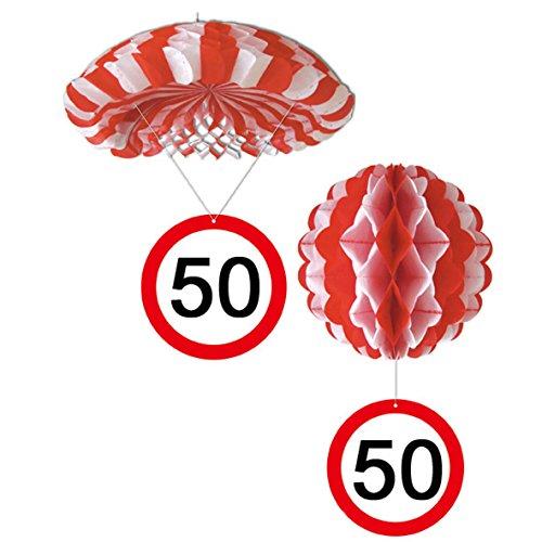 Sortiert 1 Deko Ballon oder 1 Deko Fallschirm mit Schild 50. Geburtstag