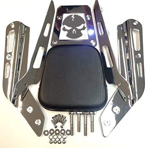 XKH Skull Zombie Style Backrest Sissy Bar with Leather Pad Compatible with Honda VTX 1300C 1800C 1986-2012 Chrome See description Compatible with detail [B013T5H1YU]