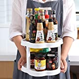 Lazy Susan Cabinet Organizer, OUMATR 2 Tier Non Skid Lazy Susan Turntable (10 Inch X 2), 360 Degree Rotating Spice Rack, 20 Inch Plastic Lazy Susan For Pantry Kitchen And Vanity Display Stand (White)