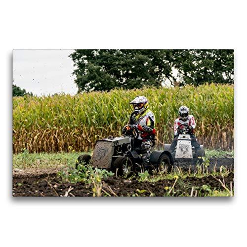 Premium Textil-Leinwand 75 x 50 cm Quer-Format Rasenmäherrennen | Wandbild, HD-Bild auf Keilrahmen, Fertigbild auf hochwertigem Vlies, Leinwanddruck von Sonja Teßen