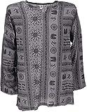 GURU SHOP Yoga Hemd, Goa Hemd Om, Herren, Grau, Baumwolle, Size:XL, Hemden Alternative Bekleidung