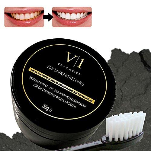 Aktivkohle Zahnaufhellung Kokos Pulver 30 g ● natürliches Zahn Bleaching für Weiße Zähne ● Zahnverfärbungen entfernen & Zähne aufhellen