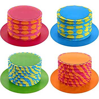 8 Pieces 11.6 Inch Party Hats Mad Hatter Tea Party Decorations Cardboard Top Hats Accordion Top Hats Fold Paper Hats Paper Top Hats for Costume Accessory Party Supplies Adults