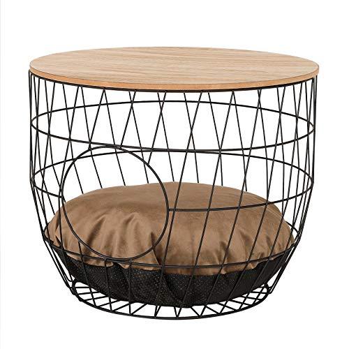 dibea Katzentisch Beistelltisch Couchtisch Korbtisch mit Katzenöffnung abgerundet