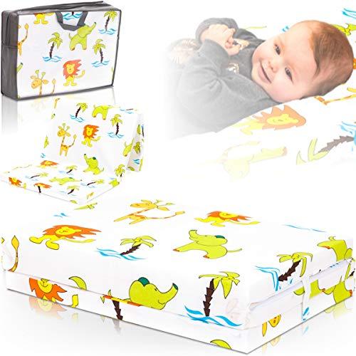 Reisebettmatratze TRAVEL 120x60cm inklusive Tragetasche für Baby Reisebett/Kinder Bett (Dschungel Weiß)