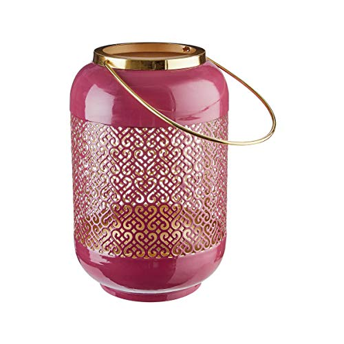 Butlers Emilie - 27 cm Metall Laterne - Beleuchtung in Dunkelrot-Gold - Stimmungslicht aus Eisen - Dekoration