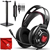 ONIKUMA M190 Pro RGB LED Light Over-Ear 7.1 Surround Sound Noise Cancelling Gaming Headset Microphone Bundle with Headphone Stand for PC, Xbox One, PS4, Nintendo Switch, Mac, Desktop, Laptop, Computer