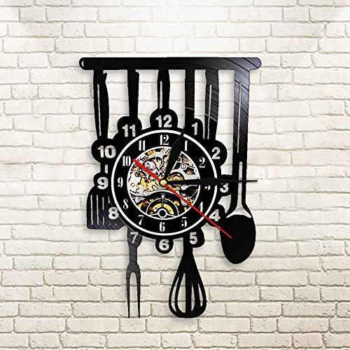 BFMBCHDJ Einzigartige kreative stumme Küchenutensilien Gabel Löffel Spatel Vinyl Schallplattenlampe Fenster Dekor Besteck Einrichtung Küchengeschirr Uhr mit LED 12 Zoll