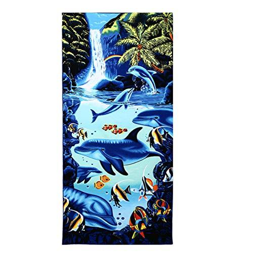 Große Strandtücher Badetuch Schnell Trocknend Wasseraufnahme Extra Microfiber,Pferde,Delphin, Hawaii-Motiv 100 x180CM,Mehrfarbig (Wasserfall-Delphin)